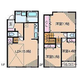 [テラスハウス] 神奈川県横浜市港北区綱島東2丁目 の賃貸【/】の間取り