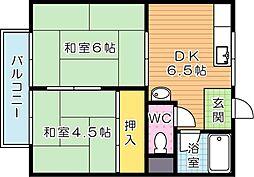 コーポ引野口 A棟[2階]の間取り