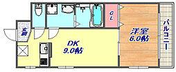 ソレイユ六甲2 2階1DKの間取り