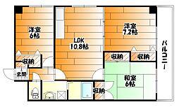 広島県広島市安佐南区山本3丁目の賃貸マンションの間取り
