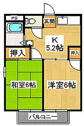 コーポ大野(JA)[2階]の間取り