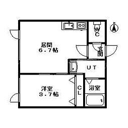 北海道札幌市豊平区平岸一条1丁目の賃貸マンションの間取り