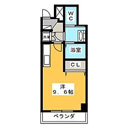 クリスタルテラス本山 8階ワンルームの間取り