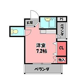 ニューハイツ桜IV 4階ワンルームの間取り