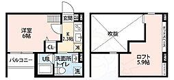 南海線 湊駅 徒歩18分の賃貸アパート 2階1Kの間取り