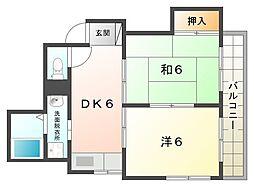 コーポ守口 4階2DKの間取り