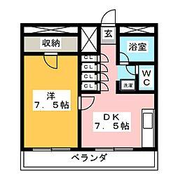 スカイコート福室[3階]の間取り