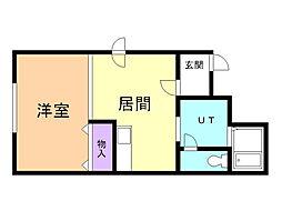藤屋ビルII 3階1LDKの間取り