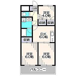 東京都西東京市谷戸町1丁目の賃貸マンションの間取り