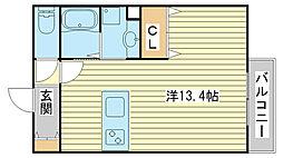 兵庫県姫路市網干区余子浜の賃貸アパートの間取り