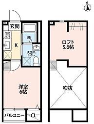 仙台市地下鉄東西線 連坊駅 徒歩11分の賃貸アパート 1階1Kの間取り