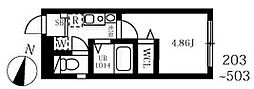 JR京浜東北・根岸線 王子駅 徒歩7分の賃貸マンション 2階1Kの間取り