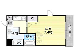 JR大阪環状線 京橋駅 徒歩9分の賃貸マンション 4階1Kの間取り