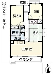 ピアネーズ神ノ倉B棟[3階]の間取り