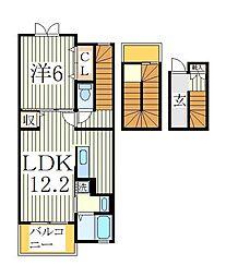 ブリリアントガーデンアゼリアA 3階1LDKの間取り