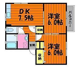 岡山県倉敷市酒津の賃貸アパートの間取り
