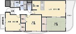 大阪府八尾市八尾木北6丁目の賃貸マンションの間取り