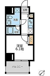 プライマル横濱平沼橋 2階1Kの間取り