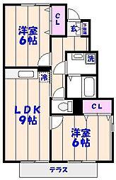 レヴール西船[101号室]の間取り