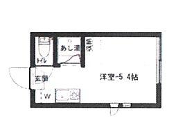 東京都中野区中央1の賃貸アパートの間取り