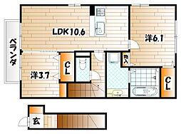 福岡県北九州市戸畑区天籟寺2丁目の賃貸アパートの間取り