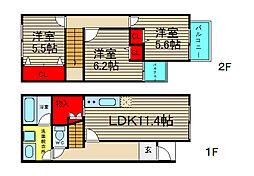 [テラスハウス] 大阪府大阪市住之江区新北島6丁目 の賃貸【/】の間取り
