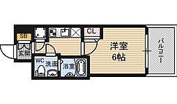 阪神本線 野田駅 徒歩4分の賃貸マンション 13階1Kの間取り
