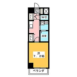 ジオステージ本山 4階1Kの間取り