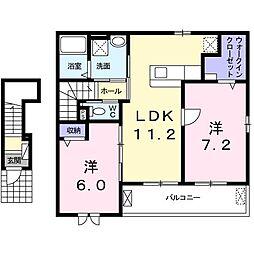 上野町アパート B棟[0203号室]の間取り