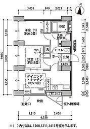 東雲キャナルコートCODAN 8階2DKの間取り