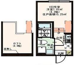 京成押上線 京成立石駅 徒歩4分の賃貸アパート 1階1Kの間取り