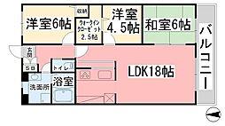 愛媛県松山市道後北代の賃貸マンションの間取り