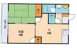 千葉県習志野市実籾4丁目の賃貸アパートの間取り