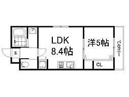 (仮称)深草町通町新築マンション 2階1LDKの間取り