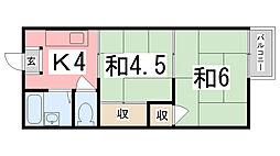 若竹ハイツ[203号室]の間取り