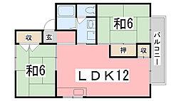 兵庫県姫路市飾磨区清水1丁目の賃貸アパートの間取り