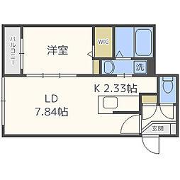 札幌市営東西線 バスセンター前駅 徒歩10分の賃貸マンション 4階1LDKの間取り