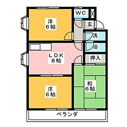 愛知県あま市木田東新五領の賃貸マンションの間取り