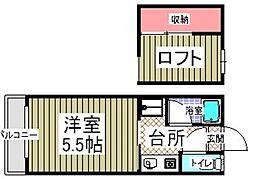 パピヨンⅡ[2階]の間取り