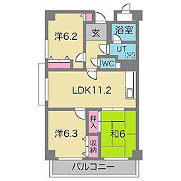 千里パノラマハイツ2[6階]の間取り