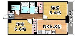阪急神戸本線 六甲駅 徒歩4分の賃貸マンション 4階2DKの間取り