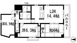 兵庫県宝塚市雲雀丘山手1丁目の賃貸マンションの間取り