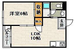 秀明ハイツII[1階]の間取り