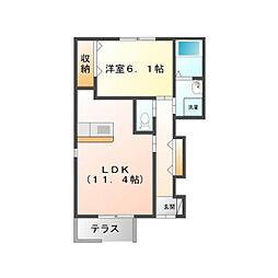 茨城県つくば市谷田部の賃貸アパートの間取り