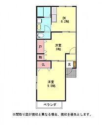 愛知県一宮市柚木颪字東川垂の賃貸アパートの間取り