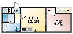 セゾンクレアスタイル新今里 3階1LDKの間取り