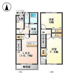 [テラスハウス] 愛知県名古屋市北区紅雲町 の賃貸【/】の間取り