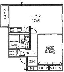 ルアーナガーデンII[1階]の間取り