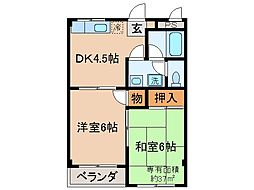 京都府京都市伏見区北浜町の賃貸マンションの間取り