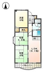 メゾンドノール B棟[2階]の間取り